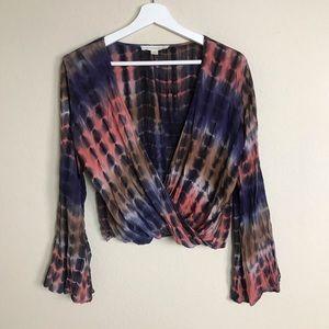 LoveStitch Tie Dye Surplice Blouse Bell Sleeve